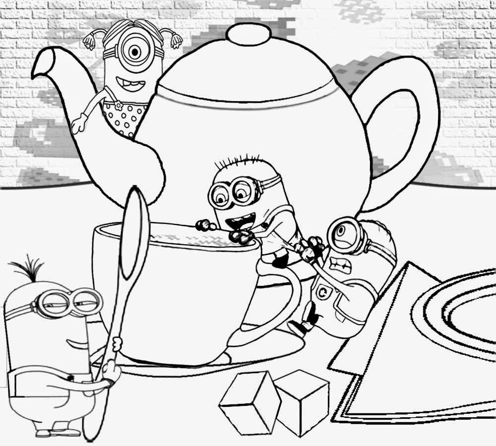 Minion coloring games for kids - Minion Rush Vector S House Tea Time Teacupparty