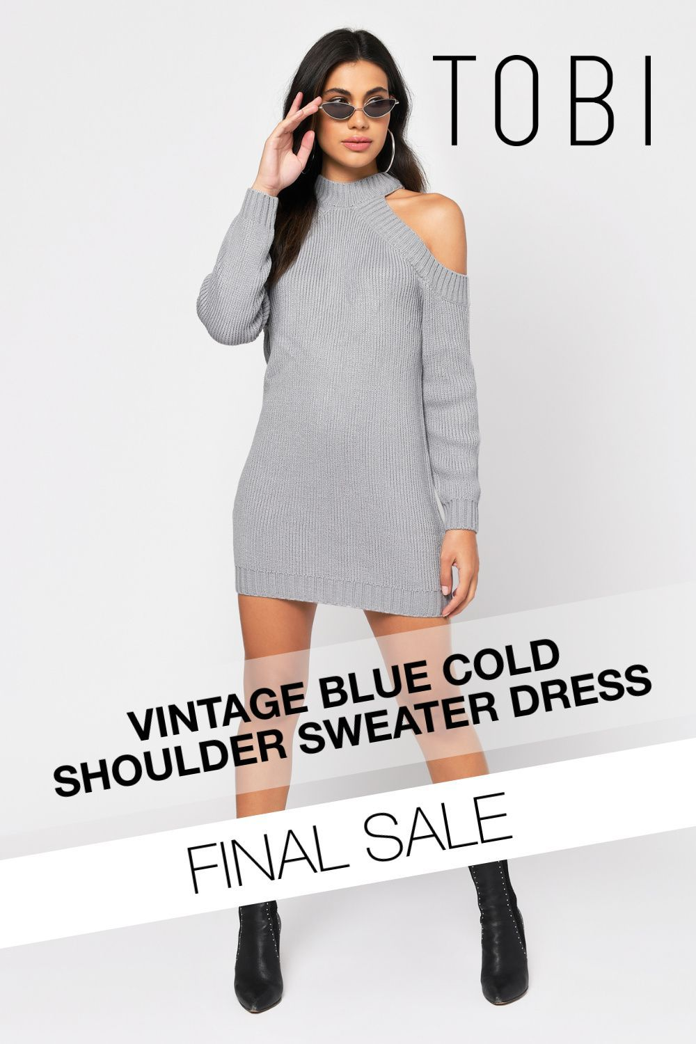 Half Thought Sweater Dress In Vintage Blue Women Dresses Casual Summer Sweater Dress Cold Shoulder Sweater Dress [ 1500 x 1000 Pixel ]