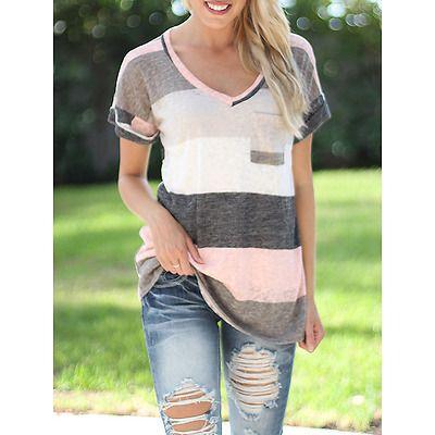 d58811351e76 Women Summer Short Sleeve T-shirt Loose Irregular Striped V Neck Tops Plus  Size