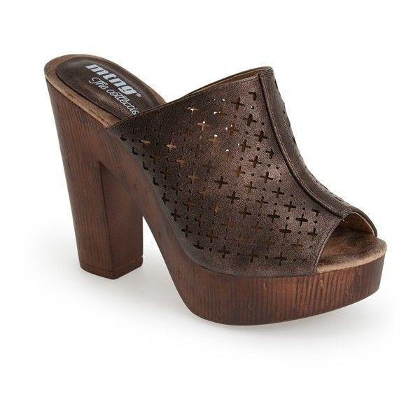 "MTNG Originals 'Sally' Platform Clog, 4 1/4"" heel (1,170 MXN) ❤ liked on Polyvore featuring shoes, clogs, bronze, retro shoes, retro high heel shoes, clog shoes, wooden clog shoes and high heel platform shoes #ClogsShoesHeels"