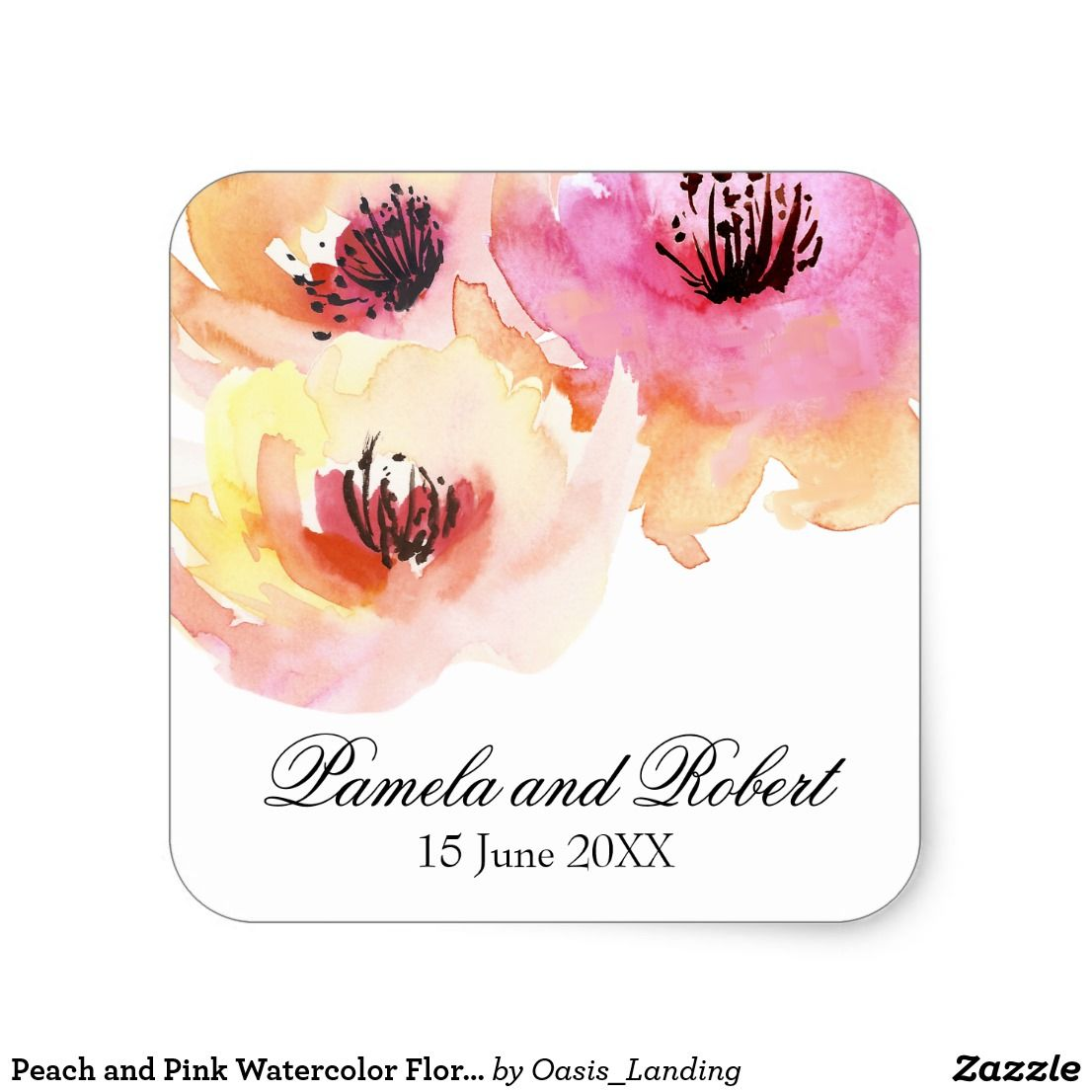 Peach and Pink Watercolor Floral Wedding Square Sticker | Pink ...