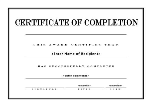 Sample Certificate Of Completion Template Pinterest