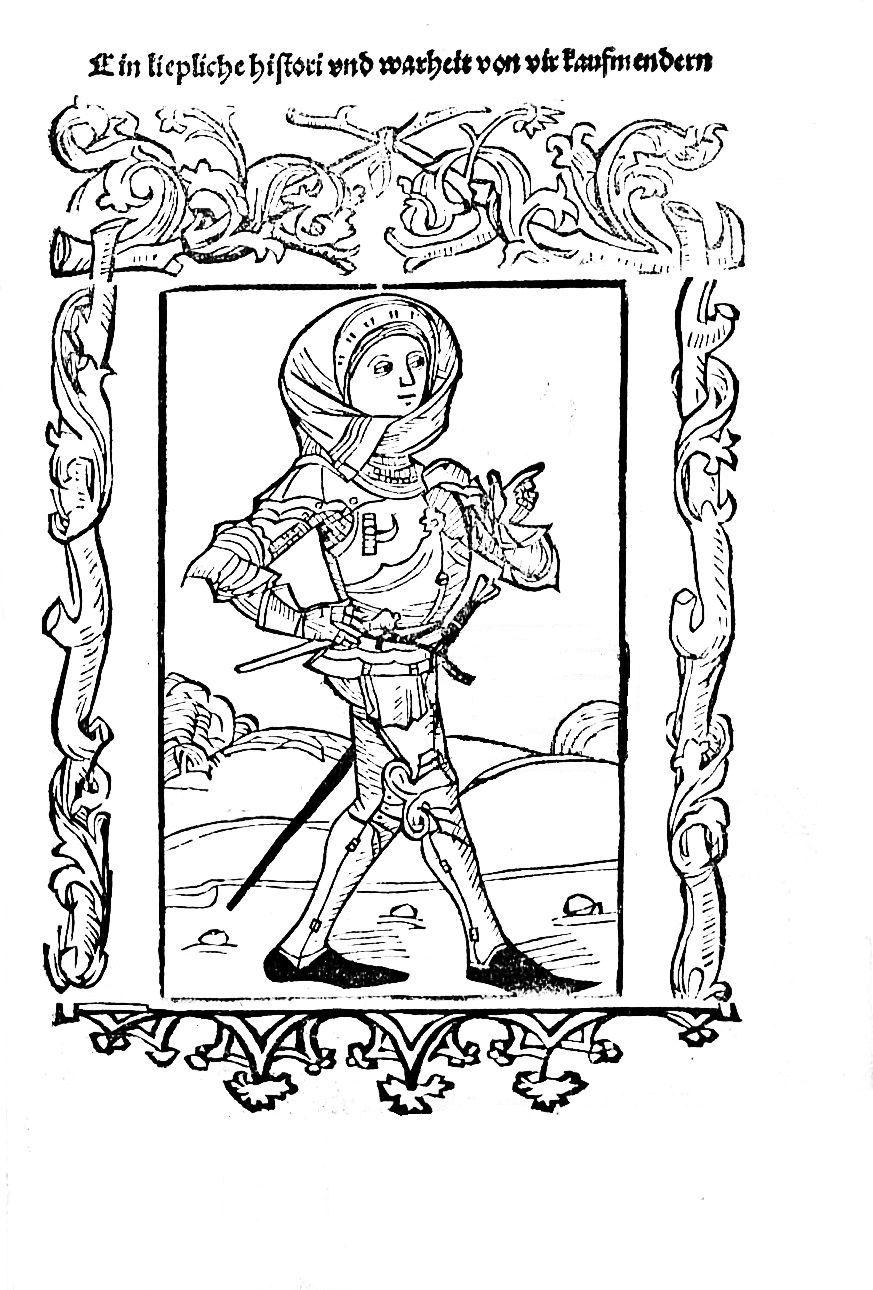 Frau in Rüstung,  Historie von den vier Kaufleuten, Inkunabel