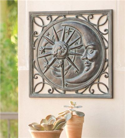 Sun And Moon Outdoor Wall Plaque
