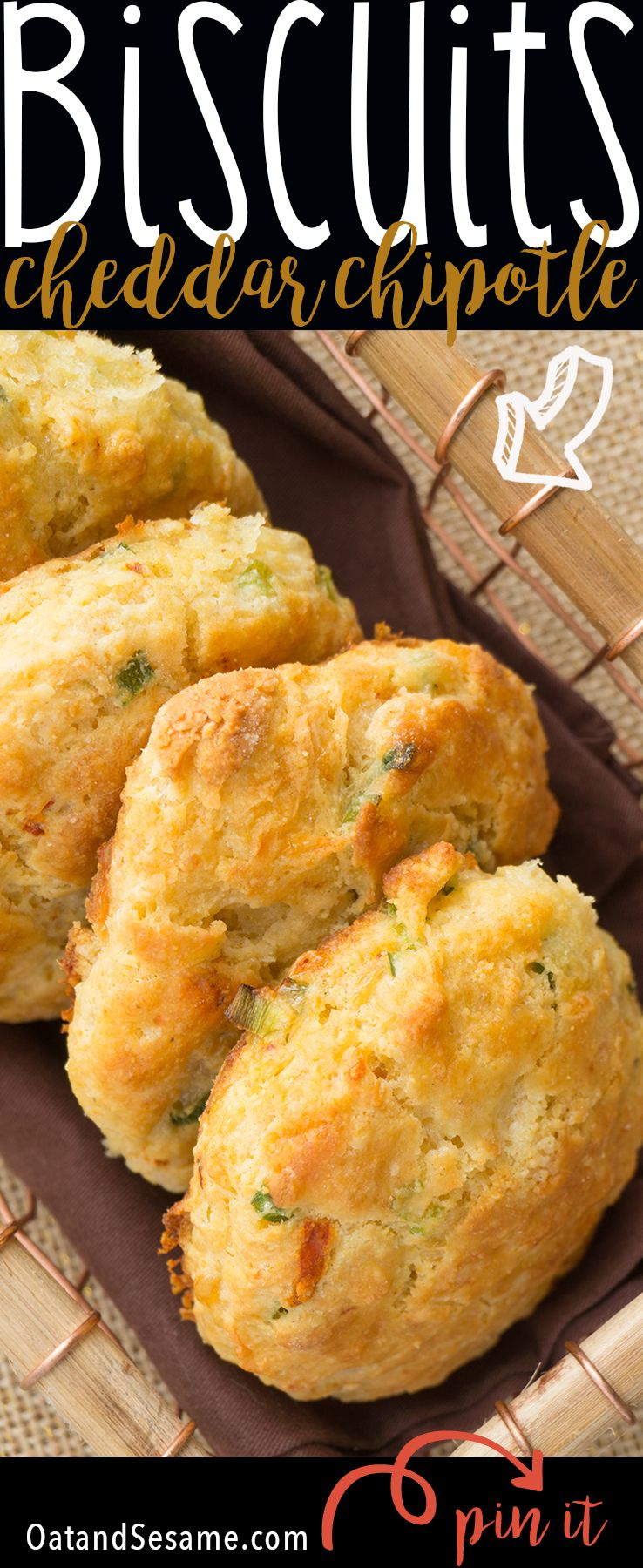 WHITE CHEDDAR CHIPOTLE CORNMEAL BISCUITS. Cheesy Savory Biscuits that are crumbly and tender. So easy and perfect for Breakfast, Lunch and Dinner! | #BISCUITS | #Recipe at OatandSesame.com