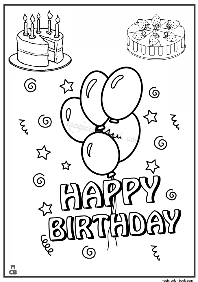 happy birthday coloring pages 05 mewarnai. Black Bedroom Furniture Sets. Home Design Ideas