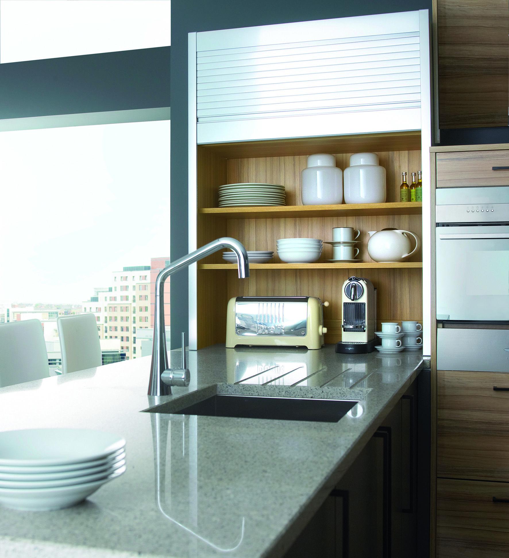 Timber veneer kitchen tambour doors tambortech - Stainless Steel Tambour Unit