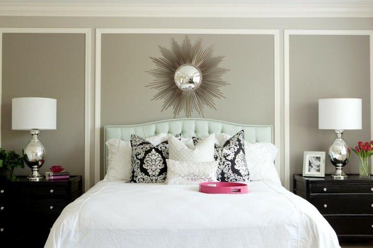 combinaciones de colores gris blanco dormitorio elegante ideas