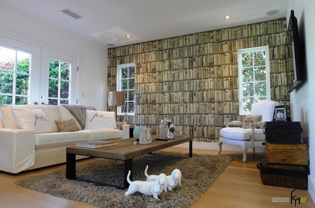 A Remarkable Brown Bookshelf Patterned Wallpaper Idea For Surprising Modern  Living Room With White Sofa And