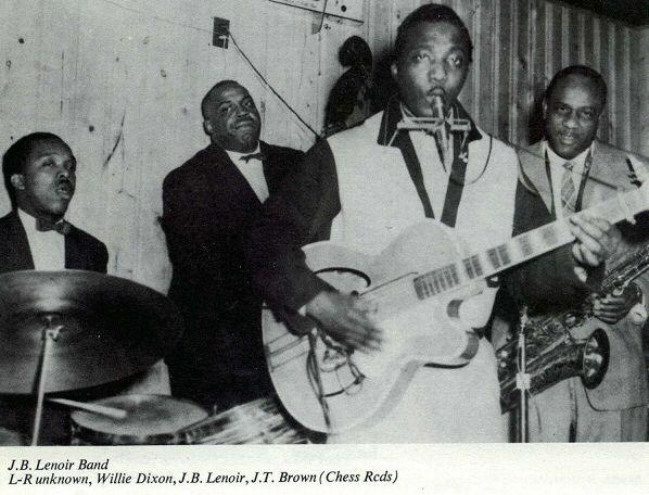 "Odie Payne Jr., dr; Willie Dixon, b; J.B. Lenoir, voc, g; J.T. Brown, ts at Tay May Club, Chicago, IL; photographer: ""GLADYS"""