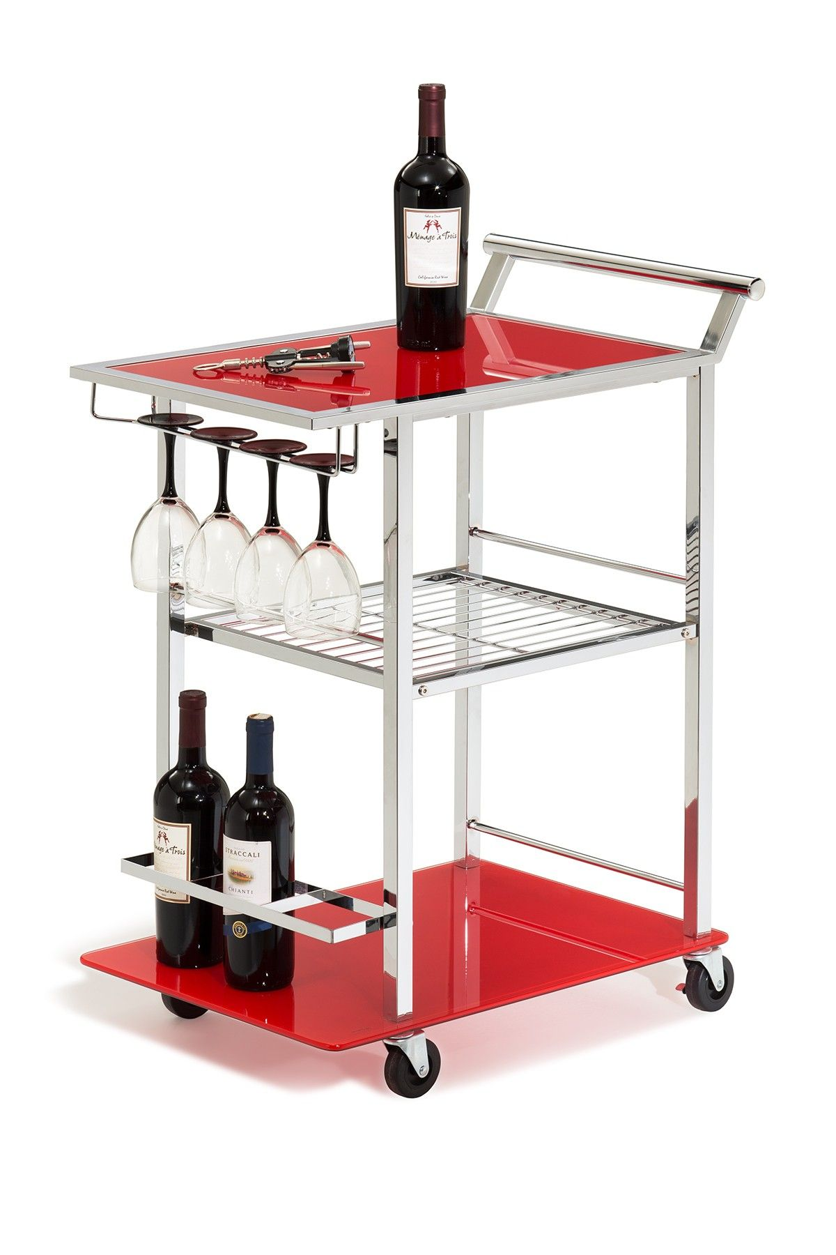 Red Glass Chrome Wine Serving Cart Hautelook Stemware Rack Glass Rack Wine Cart