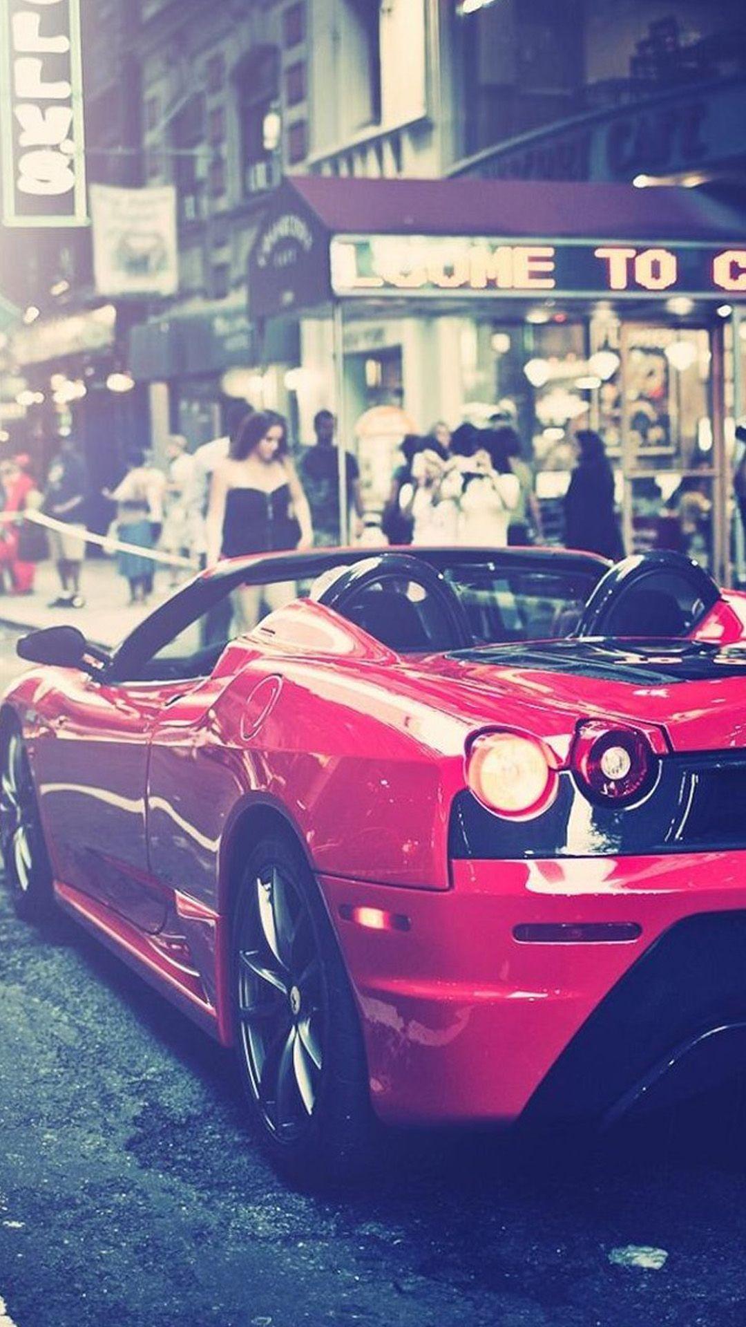 Street Cornor Luxury Modern Red Racing Car Iphone Wallpaper