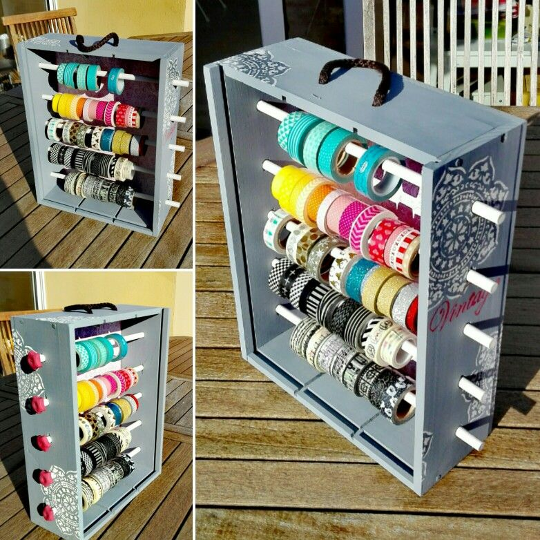 Dispensador de washi-tape realizado con una caja de vino #DIY #Scrap #washi