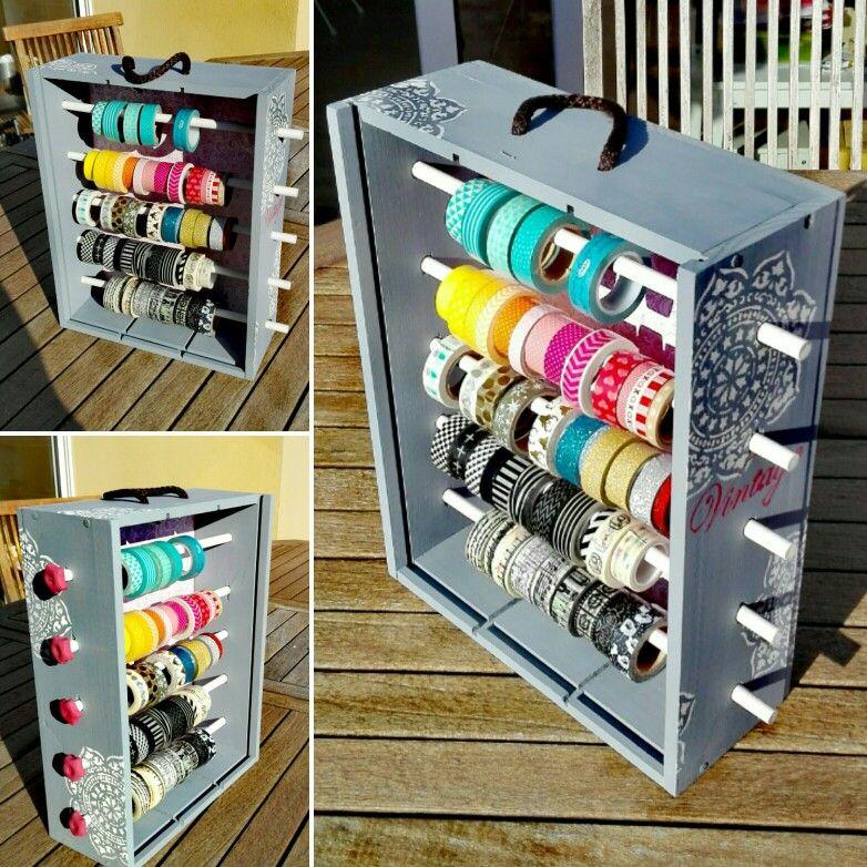 Dispensador de washi-tape realizado con una caja de vino #DIY #Scrap #washi