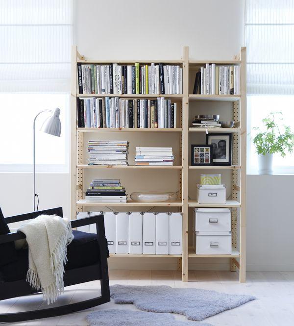 ivar 2 section shelving unit pine ikea ivar pinterest d coration de salons agencement. Black Bedroom Furniture Sets. Home Design Ideas