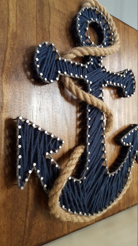 Cape Cod Blue Anchor String Art #stringart