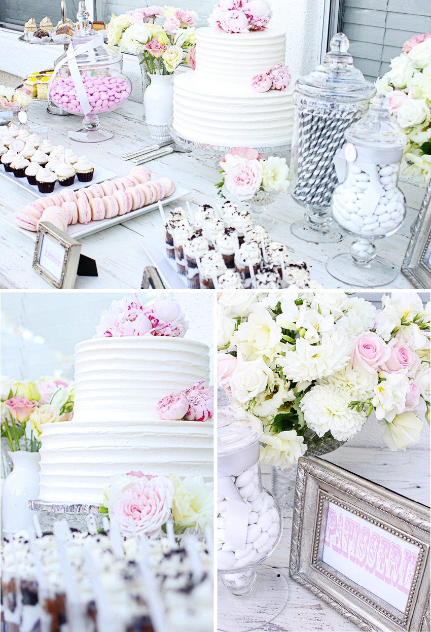 Gorgeous grey & pink dessert bar (Andrea Patricia Photography: Bridal Shower: Christine)