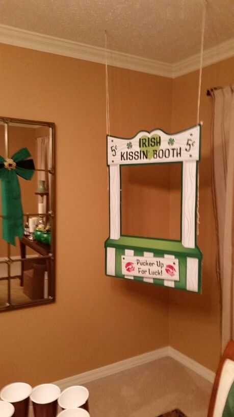 Irish kissing booth I set up for the party  Alsi bought those old