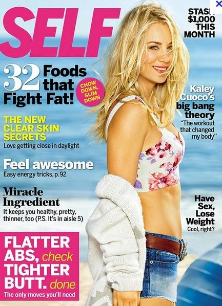 Who Made Penny Kaley Cuoco S Floral Top Sweater And Denim Shorts That She Wore On The Cover Of Self Magazine Shirt Ma Kaley Cuoco How To Slim Down Bigbang