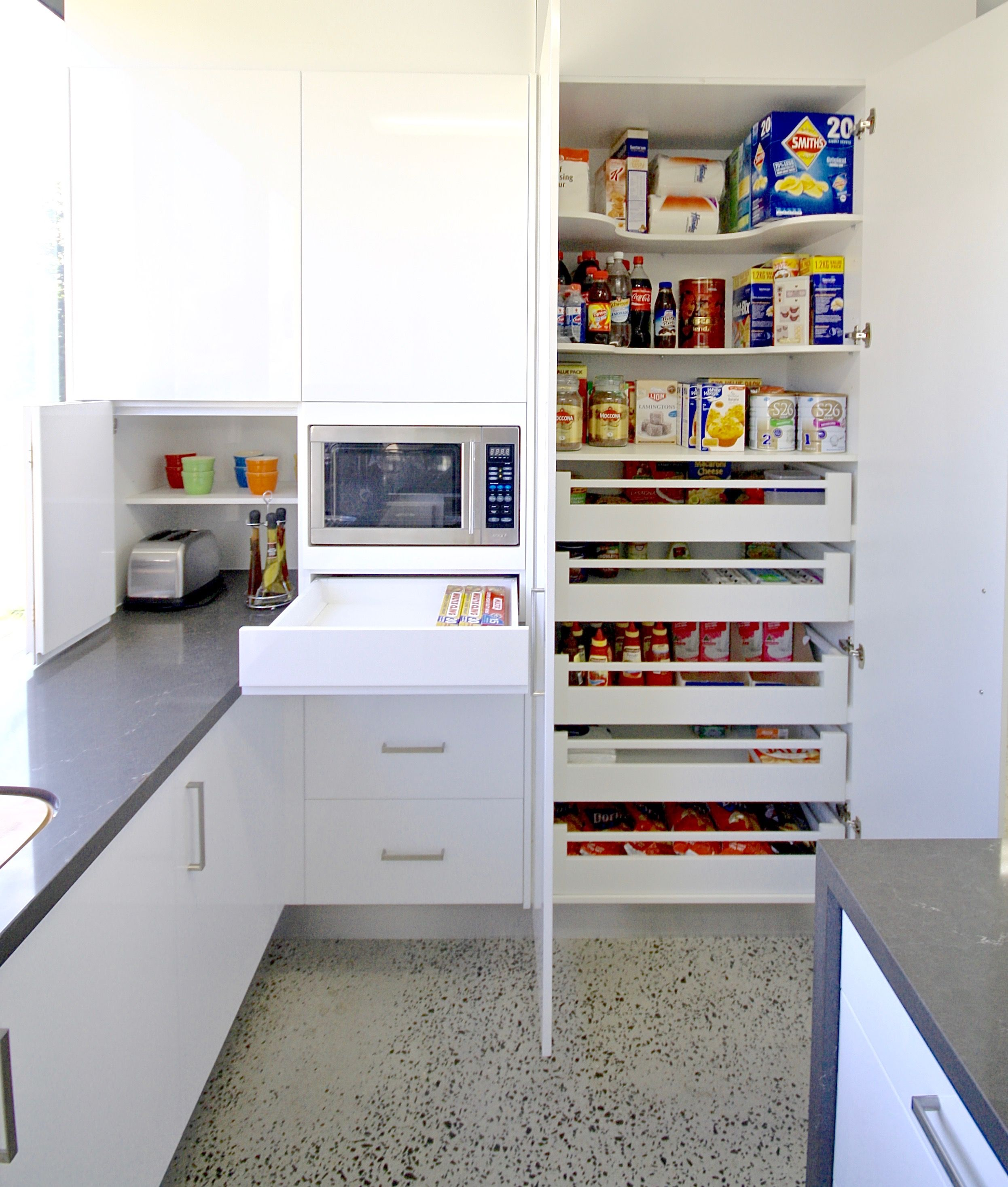 Under Counter Microwave For Easier Works: PANTRY. Blum Soft Closing Drawers, Shaped Shelving For