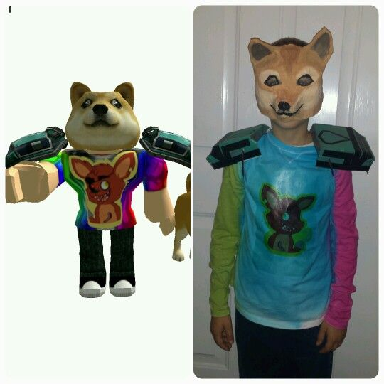 Doge Roblox Character Costume We Made A Papier Mache Mask Tie