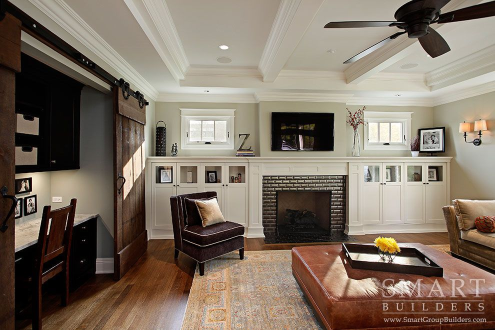 Contemporary Craftsman Style Custom Home Family Room
