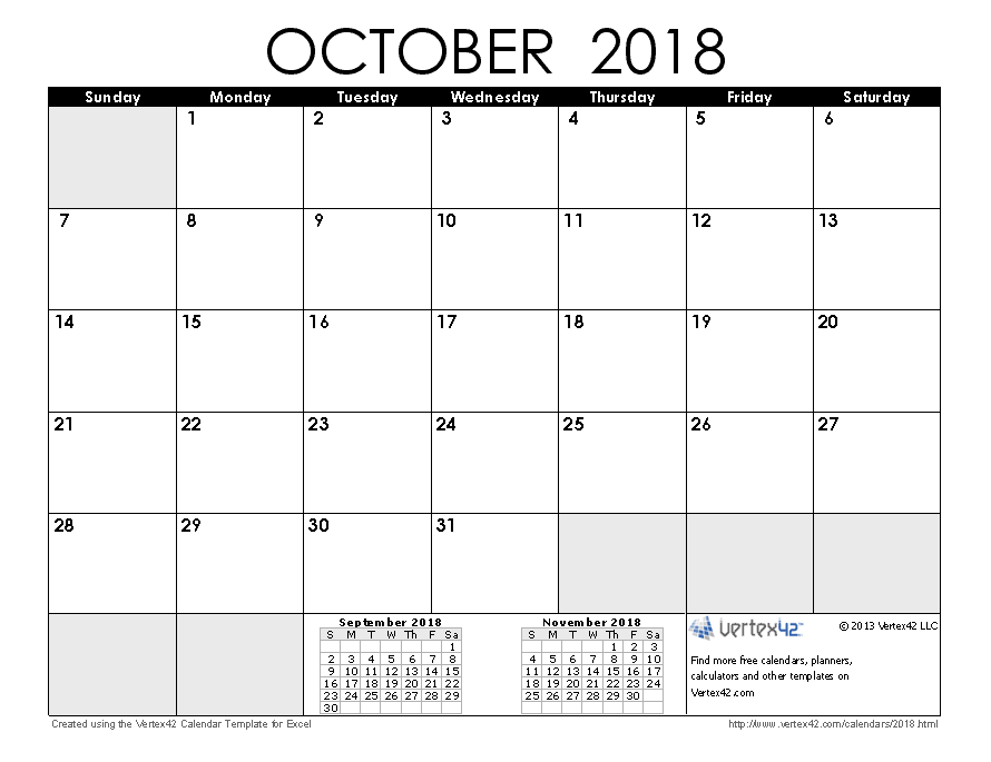 October  Calendar  Template    Template Yearly