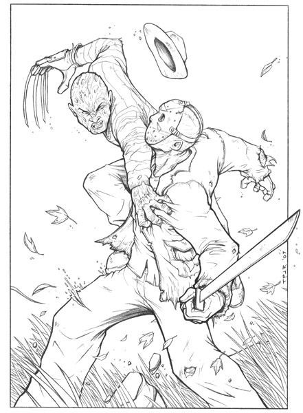 Horror Coloring Page Freddy vs Jason | horror adult coloring pages ...