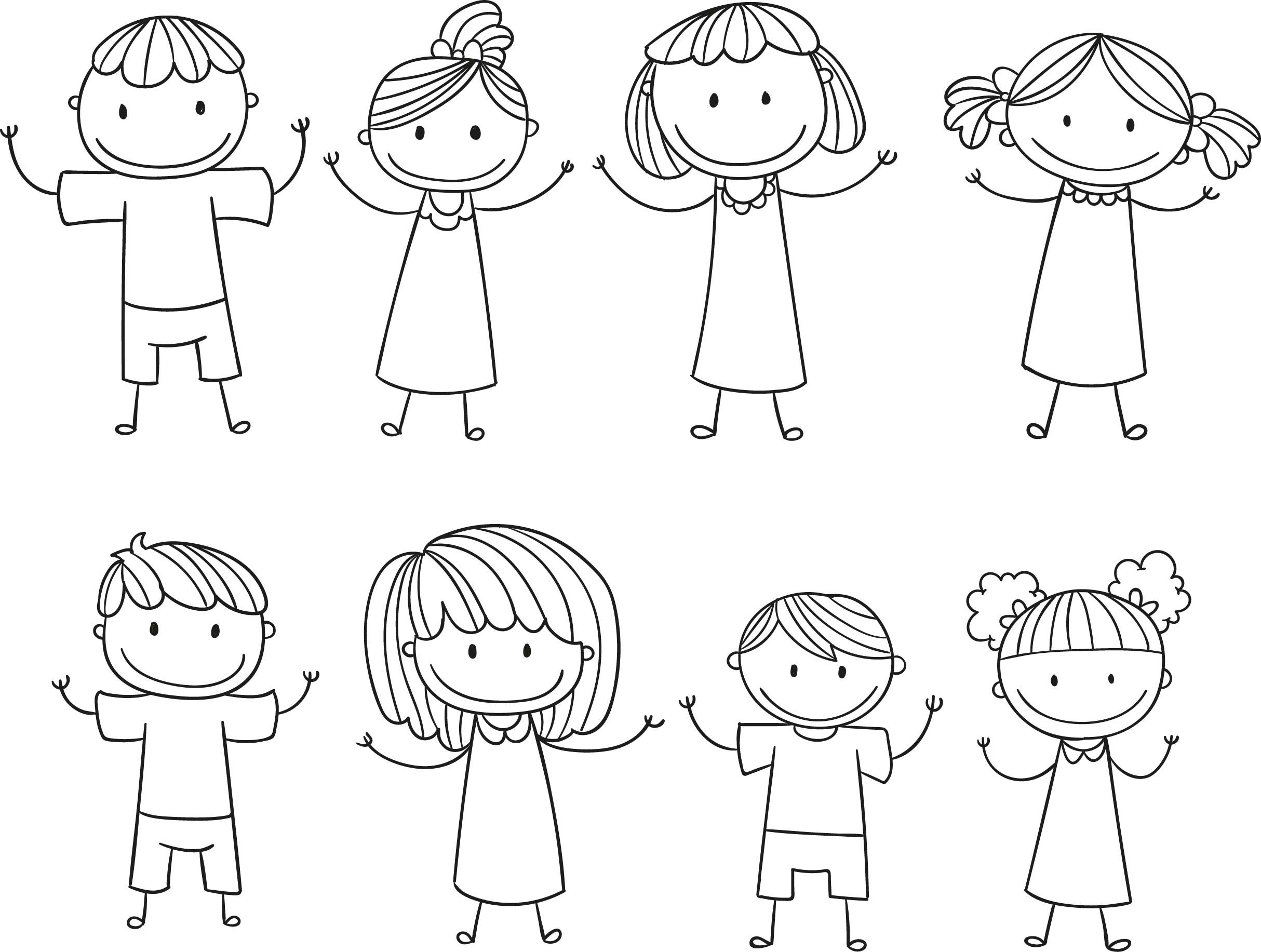 Cool Stick Figure Kids Children Free Download Coloring Page