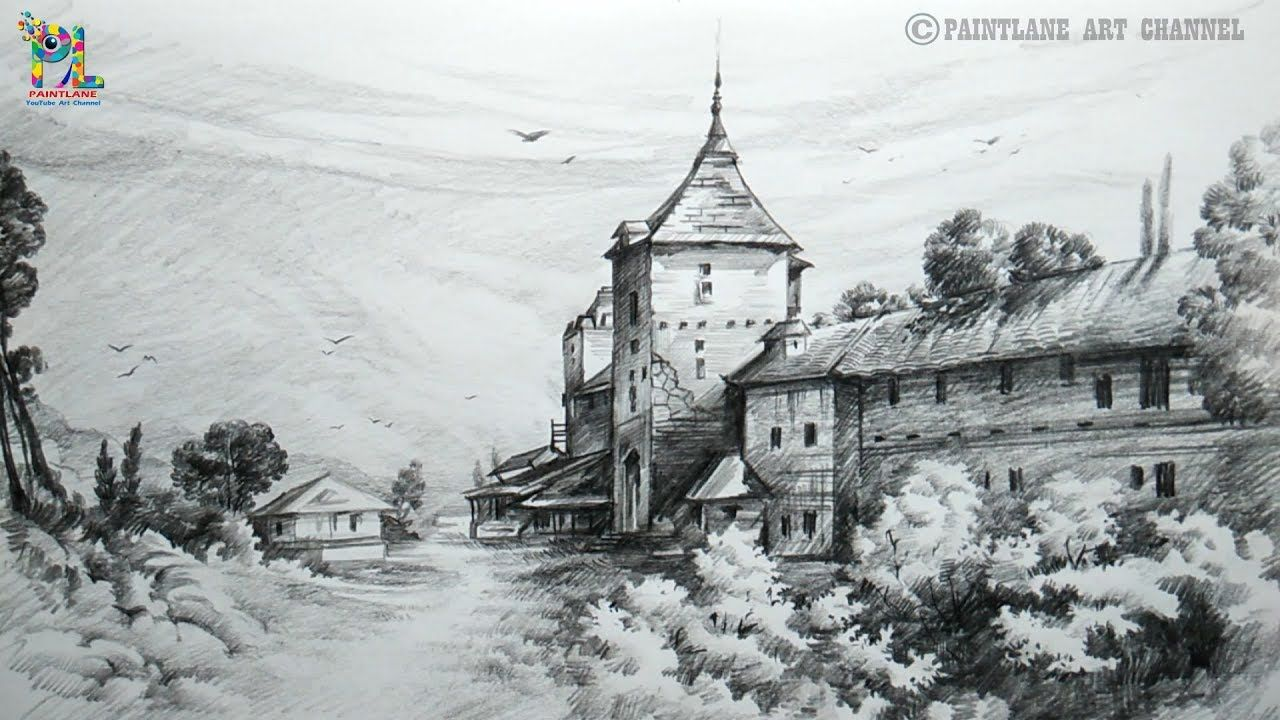 How To Draw A Lovely Scenery With Pencil Very Easy Pencil Strokes St Pencil Shading Scenery Landscape Pencil Drawings Drawings