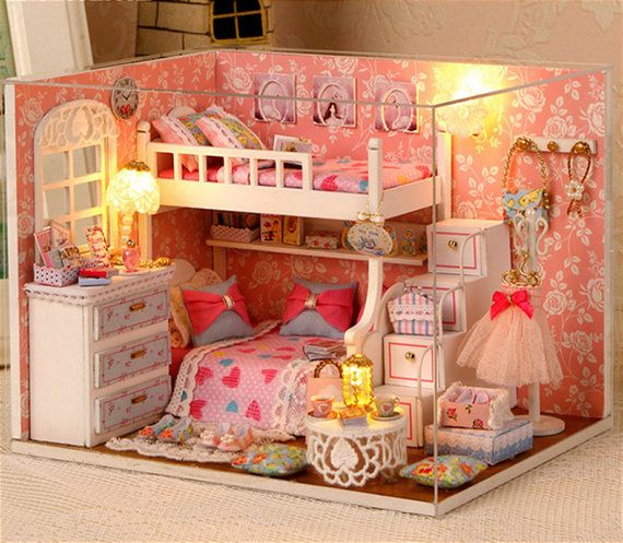 Wooden Dollhouse Miniatures 1 12 Furniture Kit Set For Doll House With Lightin