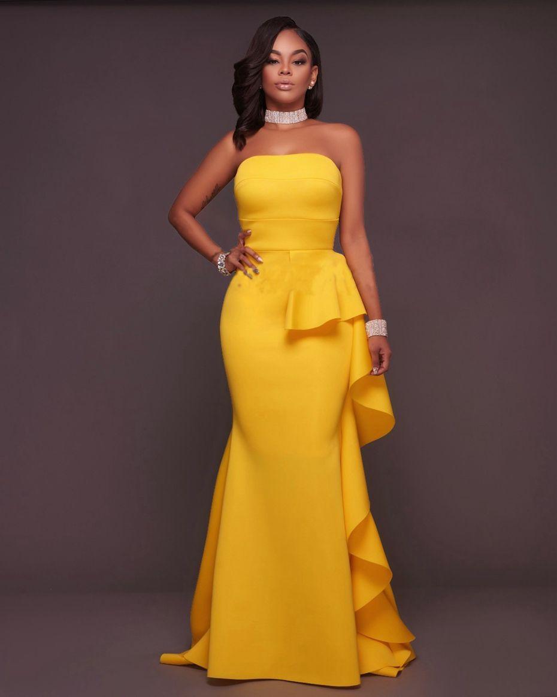 Elegant Long Yellow Mermaid Dress Trendy Outfits