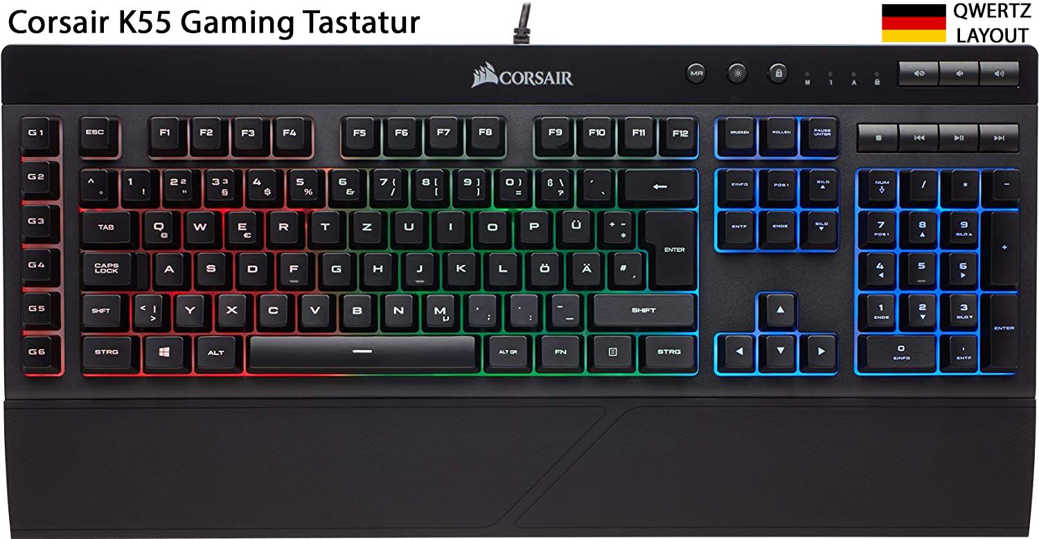 Corsair K55 Qwertz In 2020 Gaming Tastatur Tastatur Gaming