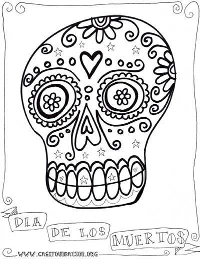 dia de los muertos sugar skull coloring pages for kids