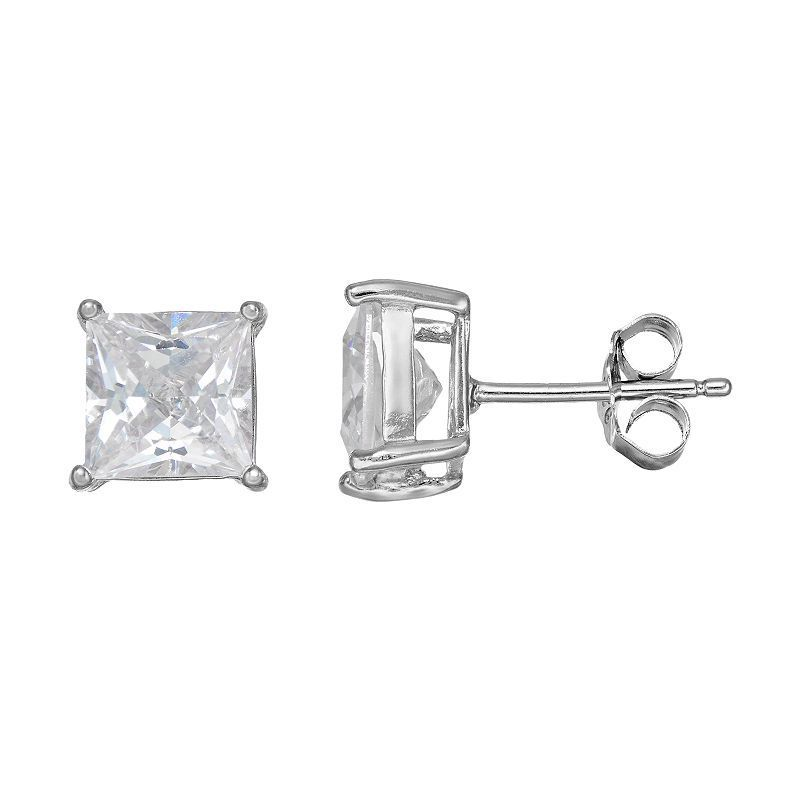 Cubic Zirconia Silver-Plated Solitaire Stud Earrings, White