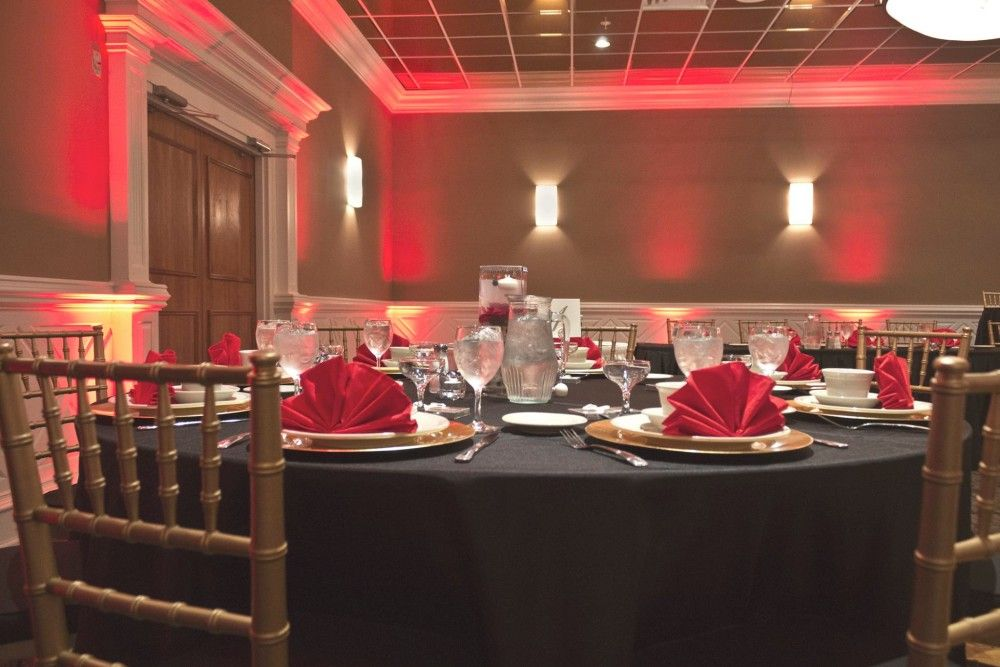 A Wedding Reception held in our Grand Ballroom with seating for 150 guests using Chiavari Chairs. Red, Gold & Black was the color scheme!
