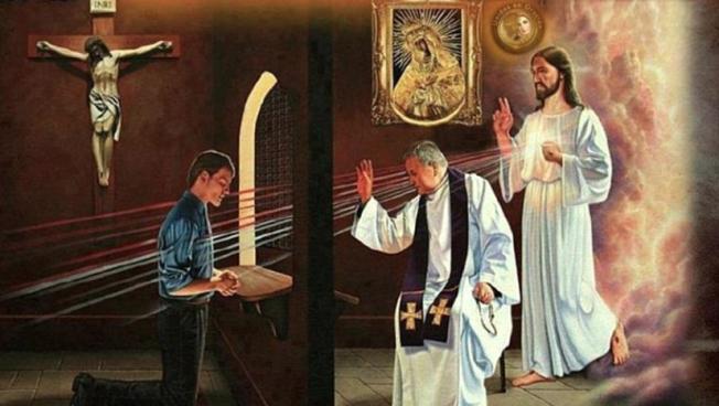 Confesión de pecados con sacerdote y Jesús