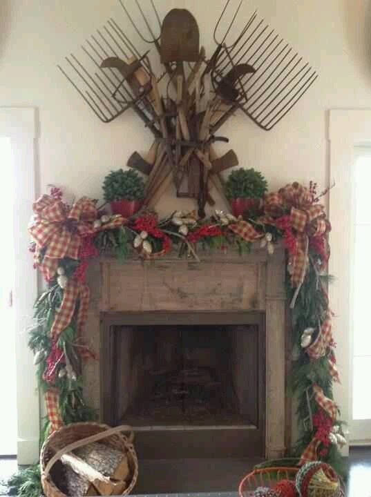 Primitive Christmas Decorated Fireplaces Smith\u0027s home Oh how - primitive christmas decorations