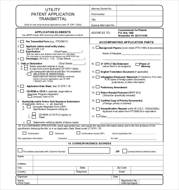 Amazing Utility Patent Application Transmittal Form Free Download (585×620) |  Econ Project | Pinterest | Patent Application, Proposal Templates And  Template  Document Transmittal Template Free