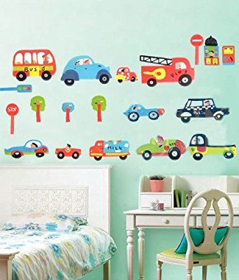 funky cars and trucks - premium removable wall stickers for boys