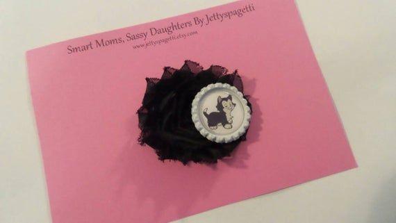 Items similar to Pinnocchio Figaro Shabby Chic Headband or Hair Clip- Black and White- Disney cats on Etsy