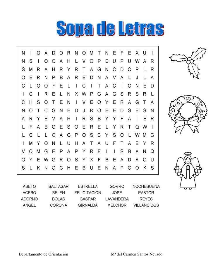 Bingo de navidad dibujos aprendizaje pinterest navidad - Sopa de letras de navidad ...