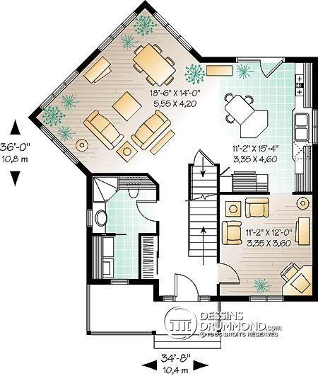 Détail du plan de Maison unifamiliale W2747 BEST PLANS Pinterest - image de plan de maison