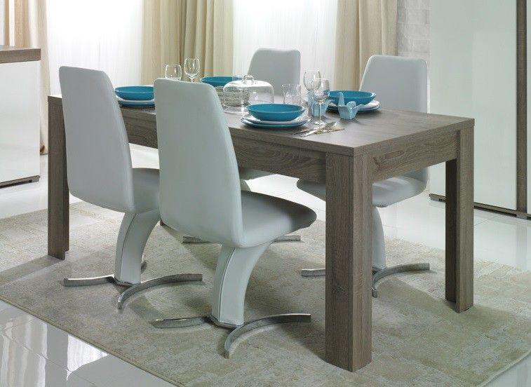 Table de salle manger contemporaine chêne truffe Delfino    www - decoration salle a manger contemporaine