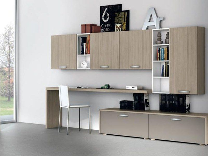 Sectional wall-mounted storage wall ALMA LIVING by CREO Kitchens by Lube