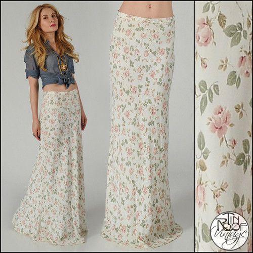 de84b05ae0 vintage 90s ROSES floral 30s Bias cut MAXI SKIRT S nouveau ivory romantic  boho
