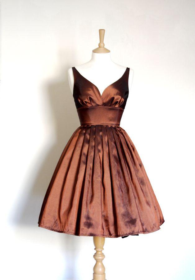 von Kleider Designerstück Knielange Bronze Taft Abendkleid ein PkXNwZ8n0O