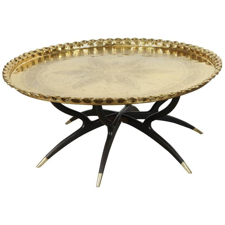 Large Polished Brass Tray Coffee Table On Spider Leg From A