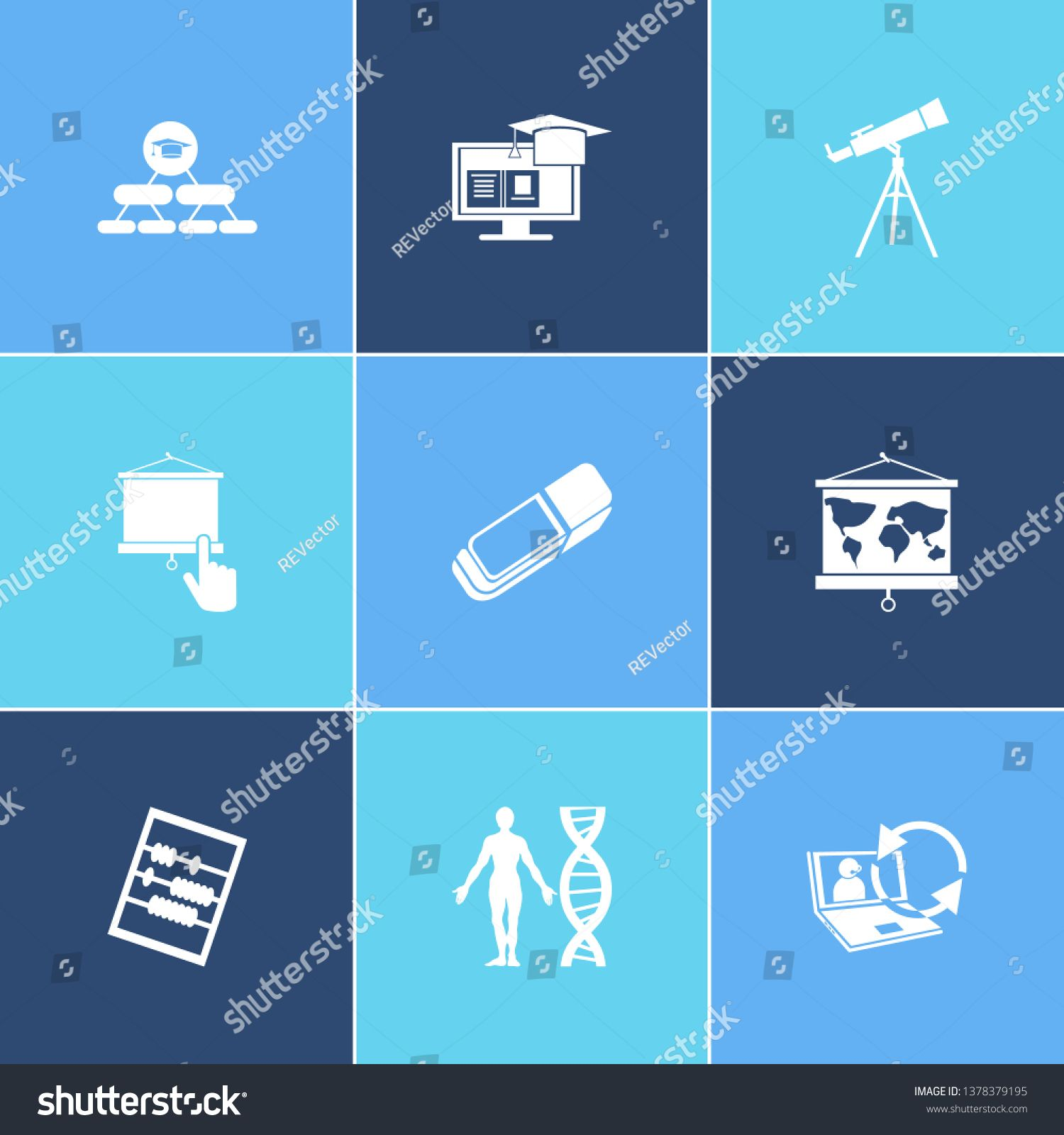 Education Icon Set And Abak With Geography Learning Support And