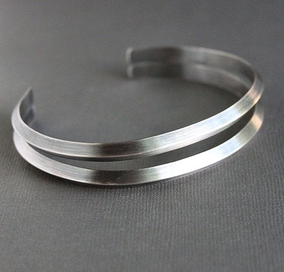 Mens Double Band Silver Cuff Bracelet Triangle Shape Metal